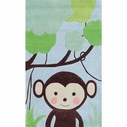Hand-hooked Jungle Mania Blue/ Brown/ Green Rug - 2'8 x 4'4