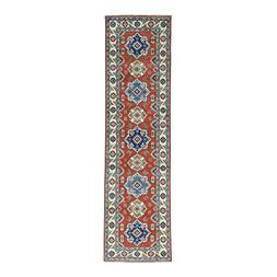 Hand-Knotted Runner Tribal Design Pure Wool Red Kazak Rug