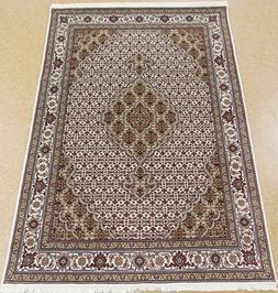 Hand Knotted New Oriental Rug Tabrizz Wool Silk Ivory Carpet