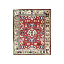 Hand-Knotted Pure Wool Tribal And Geometric Design Kazak Rug