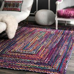 hand made bohemian braided cotton area rug