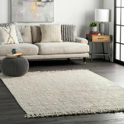 nuLOOM Hand Made Chunky Loop Natural Jute Area Rug in Off Wh