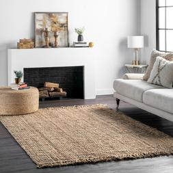 nuLOOM Hand Made Chunky Loop Natural Jute Area Rug in Tan Co