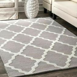 nuLOOM Hand Made Contemporary Geometric Trellis Wool Area Ru