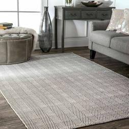 nuLOOM Hand Made Contemporary Herringbone Cotton Area Rug in