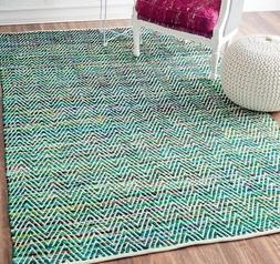 nuLOOM Hand Made Contemporary Striped Cotton Blend Area Rug