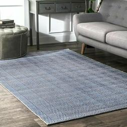 nuLOOM Hand Made Modern Geometric Cotton Area Rug in Navy Bl