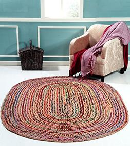 Hand Made - Braided Multicolor Chindi Rugs - Natural Jute &