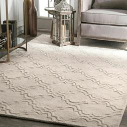 nuLOOM Hand Made Solid Geometric Trellis Wool Area Rug in Iv