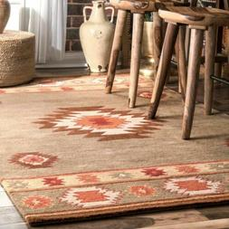 nuLOOM Hand Made Southwestern Wool  Area Rug in Grey, Brown,
