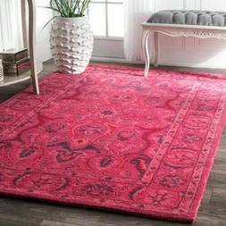 nuLOOM Hand Made Traditional Overdyed Wool Area Rug in Pink