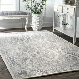 nuLOOM Hand Made Vintage Floral Wool Area Rug in Grey and Iv