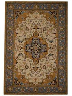 Hand-Tufted Classic Floral Ivory 10x13 Kashaan Agra Oriental