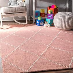 nuLOOM Hand Tufted Wool Dotted Diamond Trellis Area Rugs, 4'