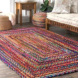 nuLOOM Hand Braided Bohemian Colorful Cotton Area Rug, Multi
