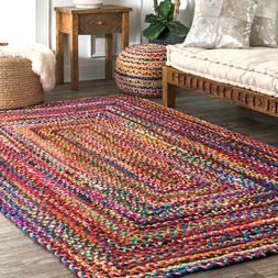 nuLOOM Handmade Casual Cotton Braided Area Rugs, 2' x 3', Mu