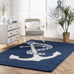 nuLOOM Handmade Coastal Anchor Nautical Wool Area Rug in Nav