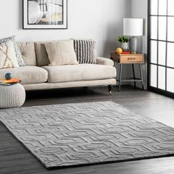 nuLOOM Handmade Contemporary Modern Geometric Wool Area Rug