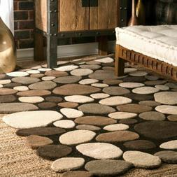 nuLOOM Handmade Contemporary Modern Wool Pebble Area Rug in