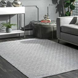 nuLOOM Handmade Cotton Geometric Flatwoven Area Rug in Grey