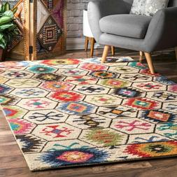 nuLOOM Handmade Geometric Tribal Wool Area Rug in Ivory, Mul