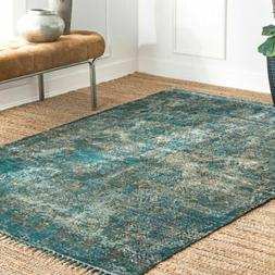 nuLOOM Handmade NEW Vintage Abstract Fringe Area Rug in Turq