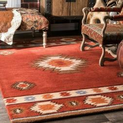 nuLOOM Handmade Southwestern Geometric Wool Area Rug in Burn