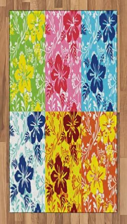 Lunarable Hawaiian Area Rug, Tropical Colorful Blooming Hibi