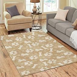 InterestPrint Hearts with Brown Dog Paw Puppy Bone Area Rugs