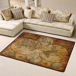 Home Art Decor Vintage Old World Map Area Rugs Pad Non-Slip