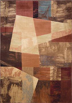 Home Dynamix Brown Transitional Blocks Abstract Area Rug Geo