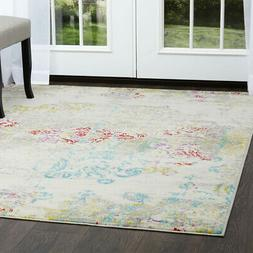 Home Dynamix Ivory Contemporary Distressed Floral Area Rug A