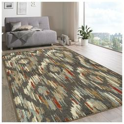 Superior Ikat Solitaire  Muti-Color  8' x 10' Area Rug Moder