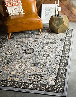 Unique Loom Isfahan Collection Dark Gray 6 x 9 Area Rug