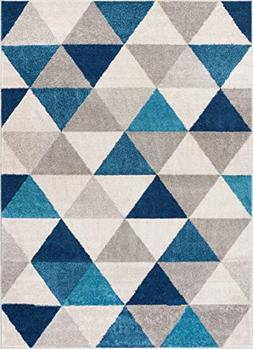 Well Woven Isometry Blue & Grey Modern Geometric Triangle Pa