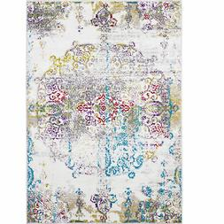 Ivory Multi-Color Transitional Area Rug Modern Distressed Fa