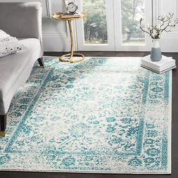 Ivory / Teal Safavieh Power-Loomed Area Rugs - ADR109D