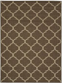 Ottomanson Jardin Collection Trellis Indoor/Outdoor Jute Bac