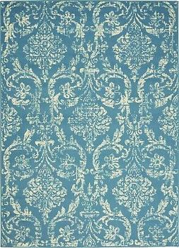 Jubilant JUB09 Blue Area Rug Farmhouse Vintage Damask By Nou