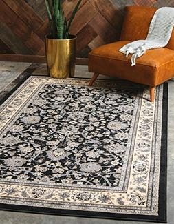 Unique Loom Kashan Collection Traditional Floral Black Home