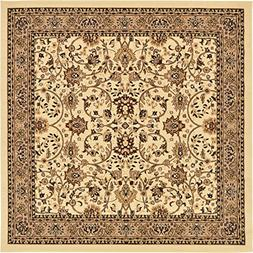 Unique Loom Kashan Collection Traditional Floral Ivory Home