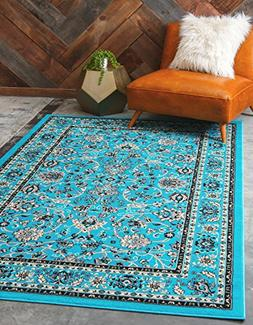 Unique Loom Kashan Collection Traditional Floral Turquoise H