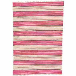 Unique Loom Kilim Dhurrie Collection Abstract Flatweave Pink