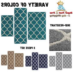 Kitchen Rug 3 Piece Set Entryway Bedroom Floor Non Kid THrow