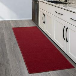Kitchen Runner Rug  Ottomanson Solid Red 20 x 59 Inches Non