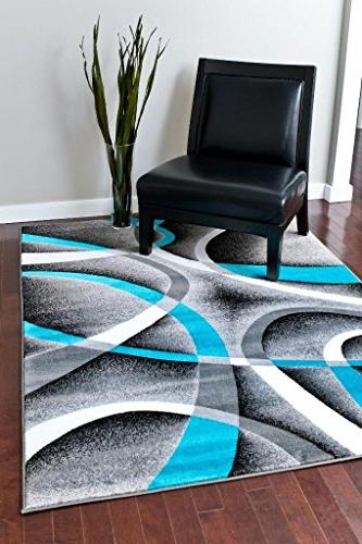 Persian Area 2305 Turquoise White 7'10 x10'6 Abstract Area Rug