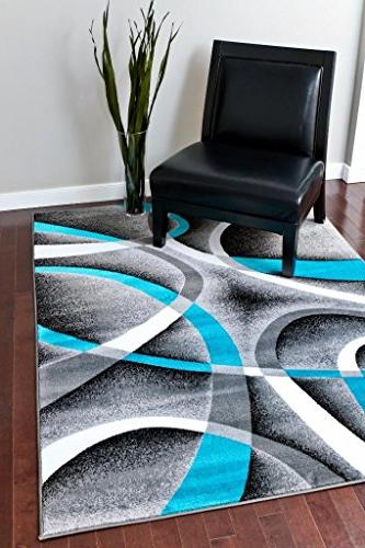 Persian Rugs 2305 Turquoise 7'10 Modern Abstract Area