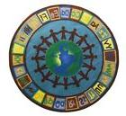 6' Round Earth Tone Alpha  World Area Rug Educational school