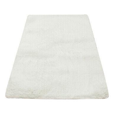 67x47' Fluffy Anti-Skid Shaggy Dining Room Bedroom Floor White