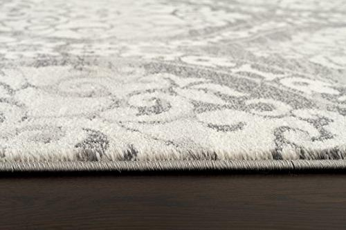Rugshop Transitional Floral Damask Rug, 5' Gray